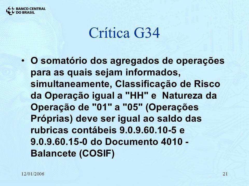 12/01/200621 Crítica G34 O somatório dos agregados de operações para as quais sejam informados, simultaneamente, Classificação de Risco da Operação ig
