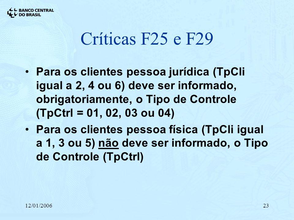 12/01/200623 Críticas F25 e F29 Para os clientes pessoa jurídica (TpCli igual a 2, 4 ou 6) deve ser informado, obrigatoriamente, o Tipo de Controle (T