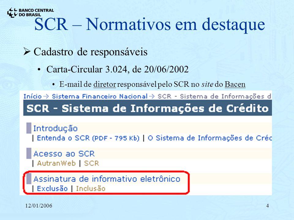 12/01/20064 SCR – Normativos em destaque Cadastro de responsáveis Carta-Circular 3.024, de 20/06/2002 E-mail de diretor responsável pelo SCR no site d