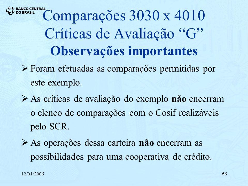 12/01/200666 Comparações 3030 x 4010 Críticas de Avaliação G Observações importantes Foram efetuadas as comparações permitidas por este exemplo. As cr