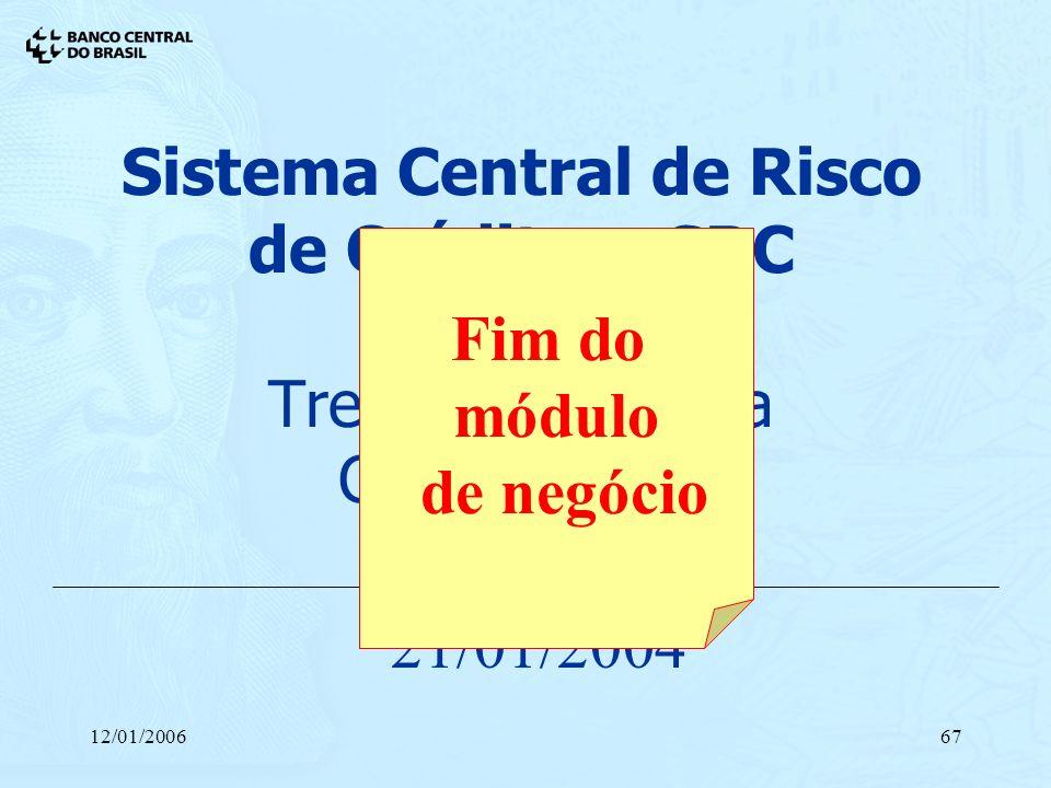 12/01/200667 Sistema Central de Risco de Crédito - SRC Treinamento para Cooperativas 21/01/2004 Fim do módulo de negócio