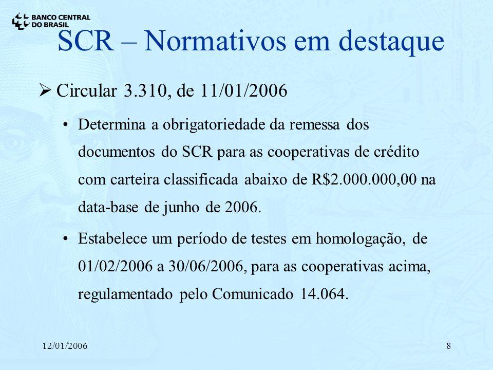 12/01/20068 SCR – Normativos em destaque Circular 3.310, de 11/01/2006 Determina a obrigatoriedade da remessa dos documentos do SCR para as cooperativ