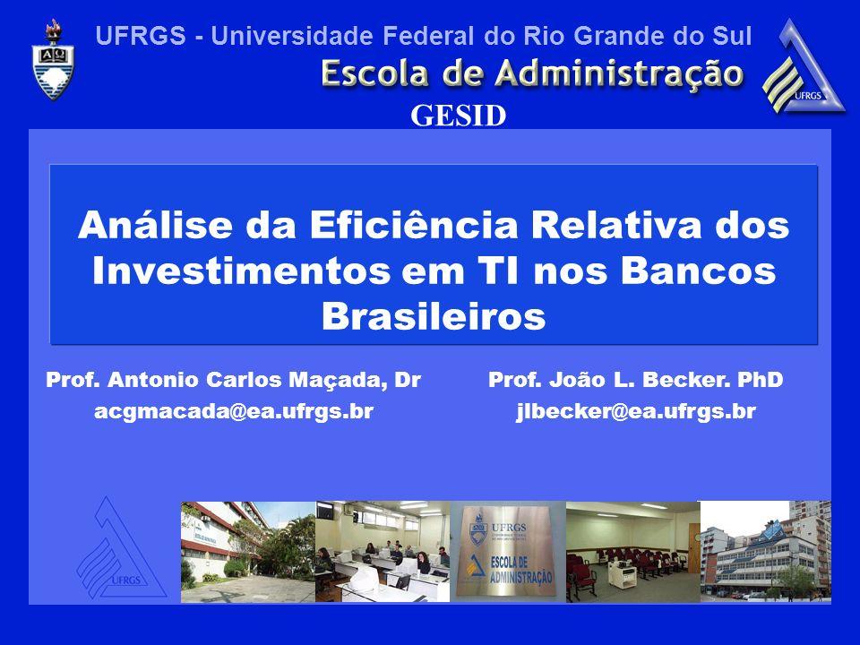 UFRGS - Universidade Federal do Rio Grande do Sul GESID Análise da Eficiência Relativa dos Investimentos em TI nos Bancos Brasileiros Prof.