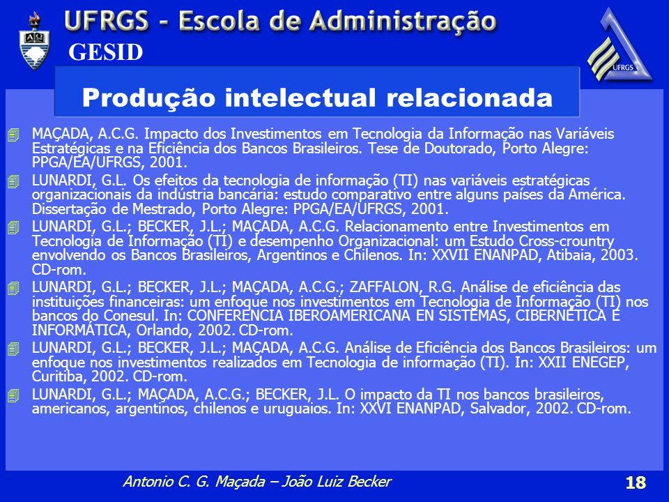 GESID Antonio C.G. Maçada – João Luiz Becker 18 Produção intelectual relacionada 4MAÇADA, A.C.G.