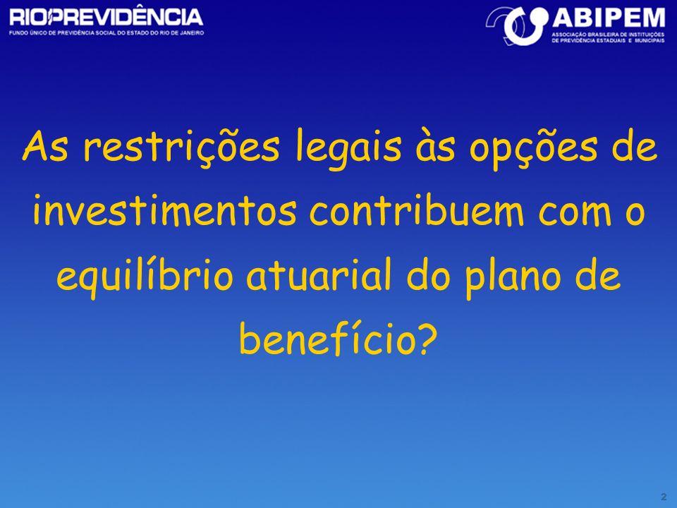 3 até 100% Pré - FixadoPós-Fixado BBC NBCE(Câmbio) LBC (Selic) LTN NTN-C (IGP-M) NTN-B ( IPCA ) D ( Câmbio ) LFT ( Selic ) até 40% Referenciados: DI, Cambial, IRF- M,Atuarial até 80% Quotas fundos referenciados – indicadores renda fixa Quotas de fundos de investimento financeiro específico, com até 30% do patrimônio alocados em LH, LCI, CDB ( rating ) Títulos Soberano de emissão do Tesouro Nacional e/ou títulos de emissão do Bacen BacenTesouro Nacional PRINCIPAIS ATÍVOS ( FUNDOS E TÍTULOS ) O somatório de Títulos Privados em fundos e na carteira própria não poderão exceder a 40% dos recursos até 15% Quotas de fundos de investimento de Renda Fixa - rating até 20% Depósito em poupança – rating (até 20%) Quotas de fundos de curto prazo (até 20%) até 20% Quotas de fundos de investimento referenciados em índices de Renda Variável Quotas de fundos de investimento imobiliário – (Integralização com ativos ) até 2% carteira imobiliária Sem limites Manutenção imobiliária – desde que atendam o objetivo de capitalização, mediante a operações de aluguel, de renda e de alienação Segmento de Imóveis Obrigatoriedade do Rating: Baixo Risco de Crédito Papéis Privados: Letra Hipotecária, Certificado de Depósito Bancário, Letra de Crédito Imobiliário Referenciados: IBOVESPA, IBX, Papéis Privados: Letra Hipotecária, Certificado de Depósito Bancário, Letra de Crédito Imobiliário Obrigatoriedade do Rating: Baixo Risco de Crédito Fundos 409 CVM / AMBID: Renda Fixa, FIEX, Multimercado, Cambial Obrigatoriedade do Rating: Baixo Risco de Crédito Pré - Fixado Pós-Fixado CLASSIFICAÇÃOLIMITES Resolução CMN nº 3.244/04