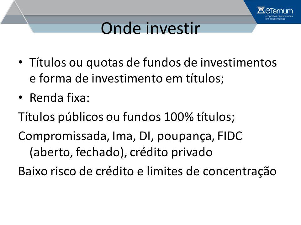 Onde investir Renda variável: Fundos de ações: referenciado a índices, índices, referenciados Fundos Imobiliários Fundos em Participações Limites – 25% das cotas
