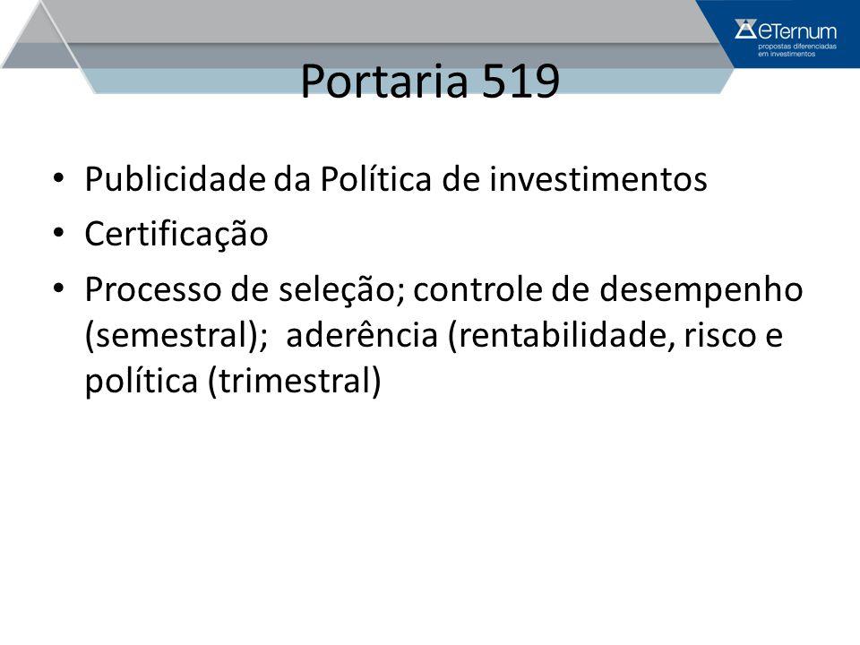 Portaria 519 Publicidade da Política de investimentos Certificação Processo de seleção; controle de desempenho (semestral); aderência (rentabilidade,