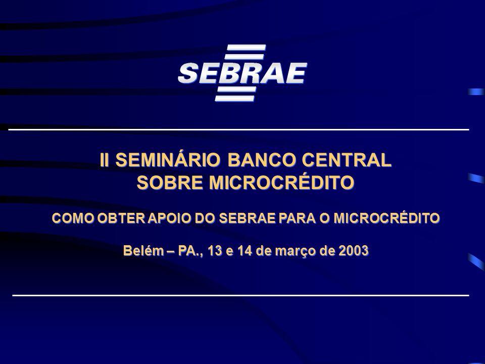 II SEMINÁRIO BANCO CENTRAL SOBRE MICROCRÉDITO COMO OBTER APOIO DO SEBRAE PARA O MICROCRÉDITO Belém – PA., 13 e 14 de março de 2003 II SEMINÁRIO BANCO