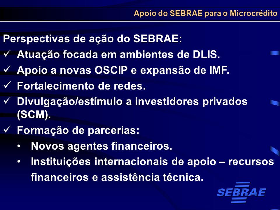 Apoio do SEBRAE para o Microcrédito Perspectivas de ação do SEBRAE: Atuação focada em ambientes de DLIS. Apoio a novas OSCIP e expansão de IMF. Fortal