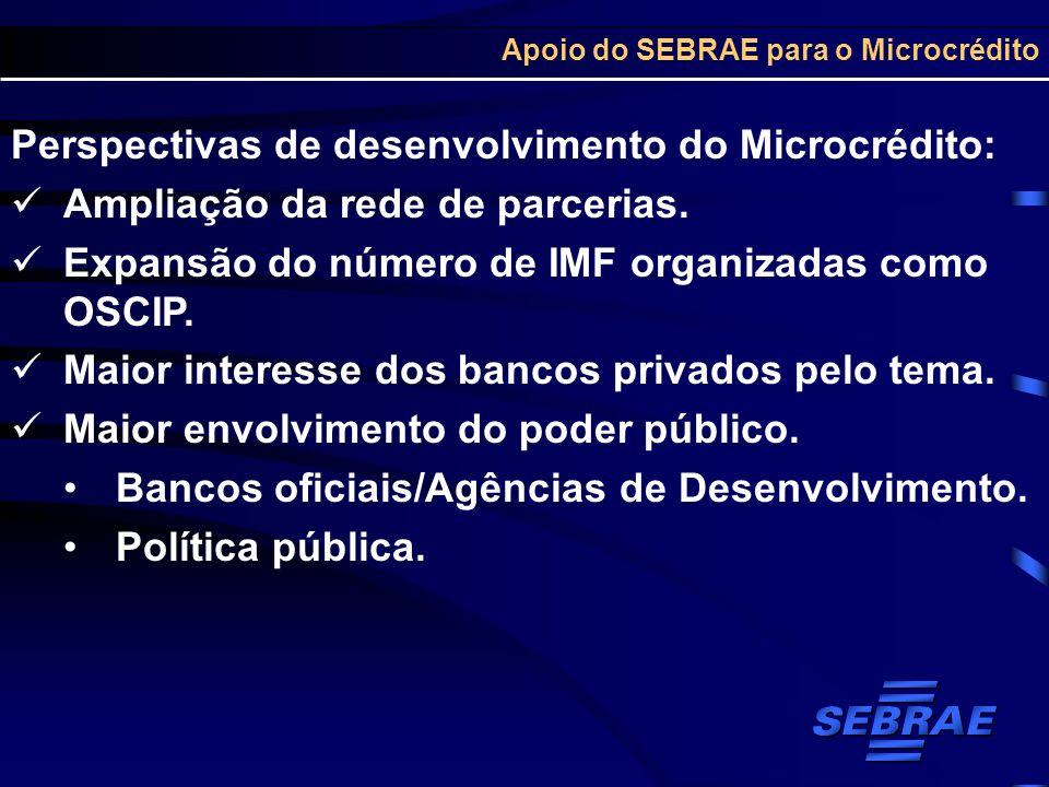 Apoio do SEBRAE para o Microcrédito Perspectivas de desenvolvimento do Microcrédito: Ampliação da rede de parcerias. Expansão do número de IMF organiz