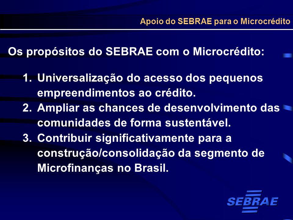 Apoio do SEBRAE para o Microcrédito Os propósitos do SEBRAE com o Microcrédito: 1.Universalização do acesso dos pequenos empreendimentos ao crédito. 2