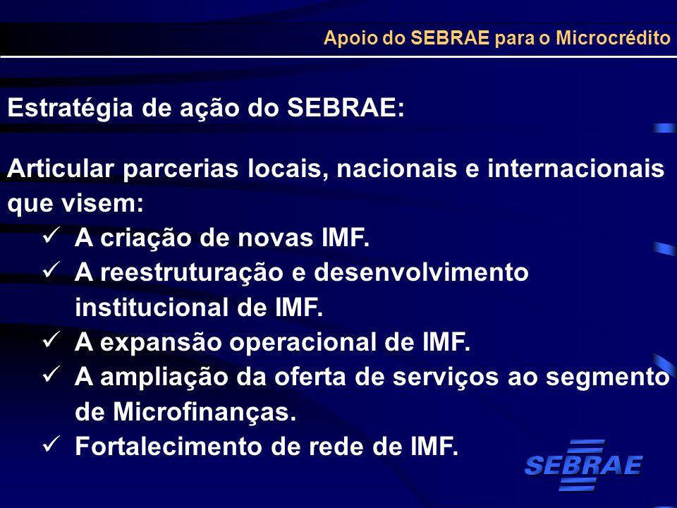 Apoio do SEBRAE para o Microcrédito Estratégia de ação do SEBRAE: Articular parcerias locais, nacionais e internacionais que visem: A criação de novas