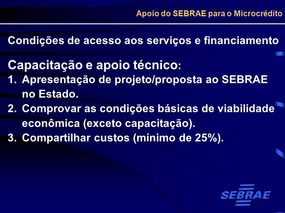 Apoio do SEBRAE para o Microcrédito Condições de acesso aos serviços e financiamento Capacitação e apoio técnico : 1.Apresentação de projeto/proposta