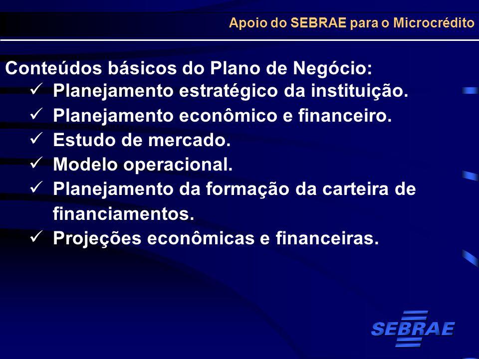 Apoio do SEBRAE para o Microcrédito Conteúdos básicos do Plano de Negócio: Planejamento estratégico da instituição. Planejamento econômico e financeir
