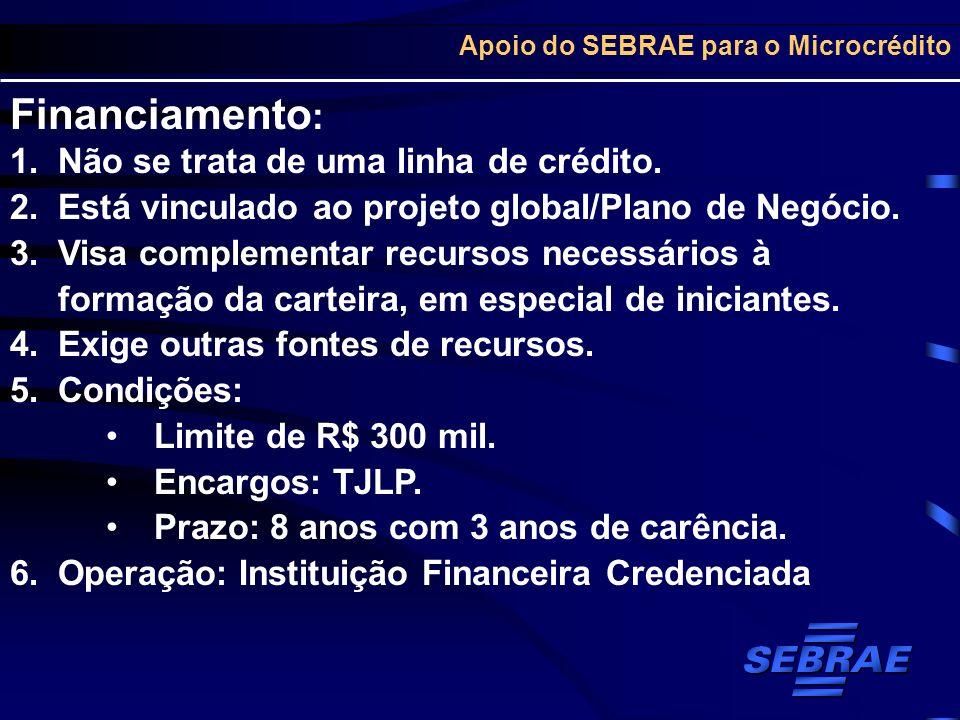 Apoio do SEBRAE para o Microcrédito Financiamento : 1.Não se trata de uma linha de crédito. 2.Está vinculado ao projeto global/Plano de Negócio. 3.Vis