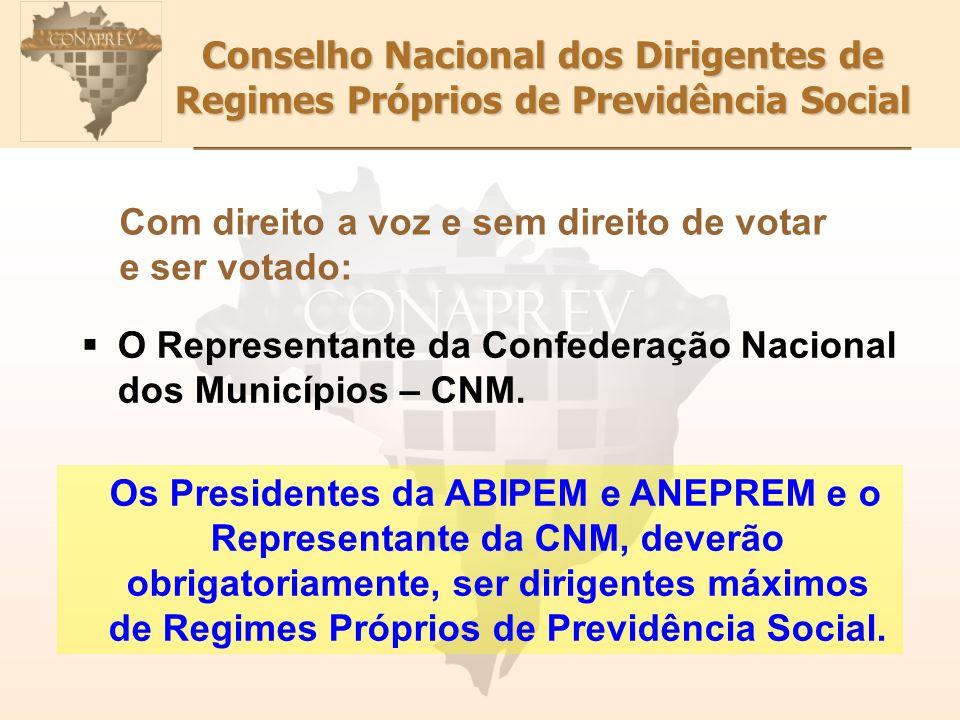 Conselho Nacional dos Dirigentes de Regimes Próprios de Previdência Social Com direito a voz e sem direito de votar e ser votado: O Representante da Confederação Nacional dos Municípios – CNM.