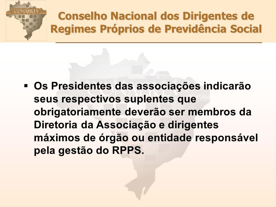 Conselho Nacional dos Dirigentes de Regimes Próprios de Previdência Social Os Presidentes das associações indicarão seus respectivos suplentes que obrigatoriamente deverão ser membros da Diretoria da Associação e dirigentes máximos de órgão ou entidade responsável pela gestão do RPPS.