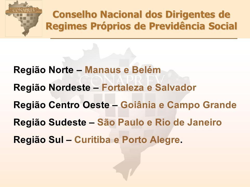 Conselho Nacional dos Dirigentes de Regimes Próprios de Previdência Social Região Norte – Manaus e Belém Região Nordeste – Fortaleza e Salvador Região