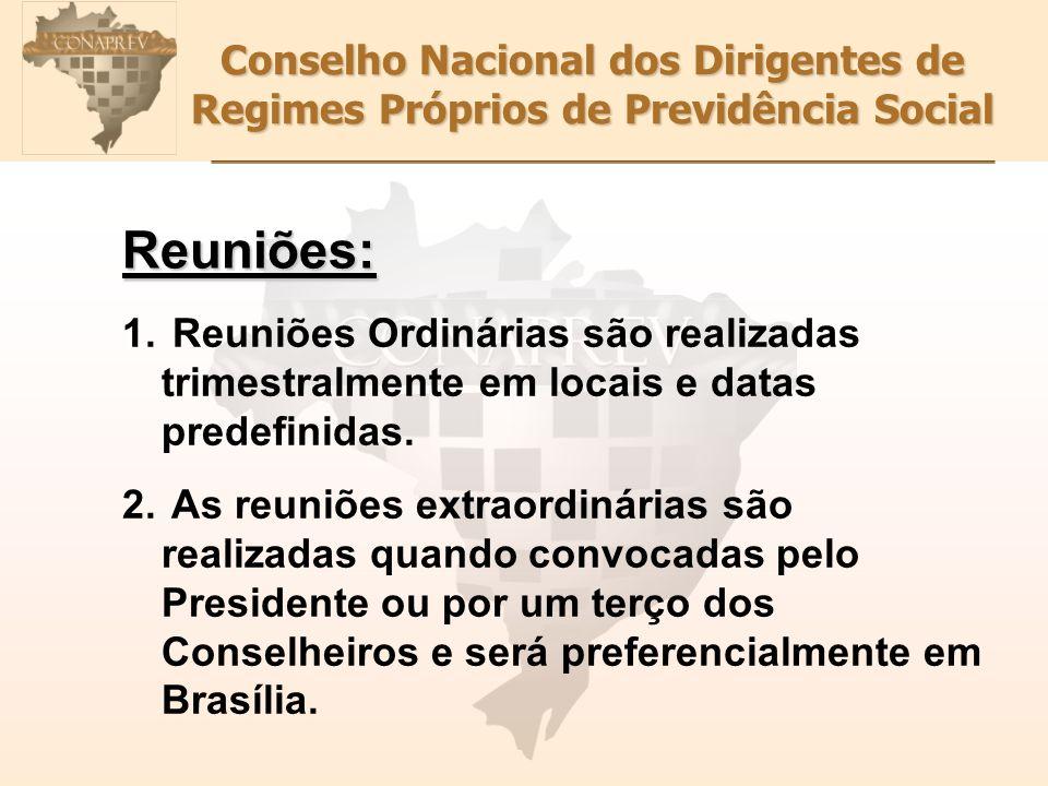 Conselho Nacional dos Dirigentes de Regimes Próprios de Previdência Social Reuniões: 1. Reuniões Ordinárias são realizadas trimestralmente em locais e