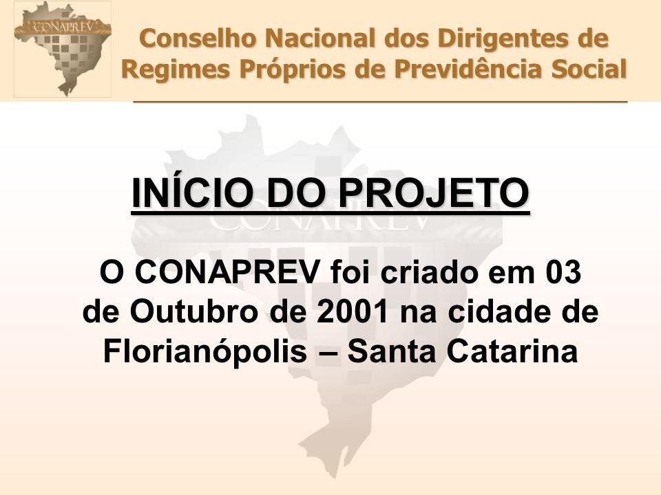 Conselho Nacional dos Dirigentes de Regimes Próprios de Previdência Social O CONAPREV foi criado em 03 de Outubro de 2001 na cidade de Florianópolis – Santa Catarina INÍCIO DO PROJETO