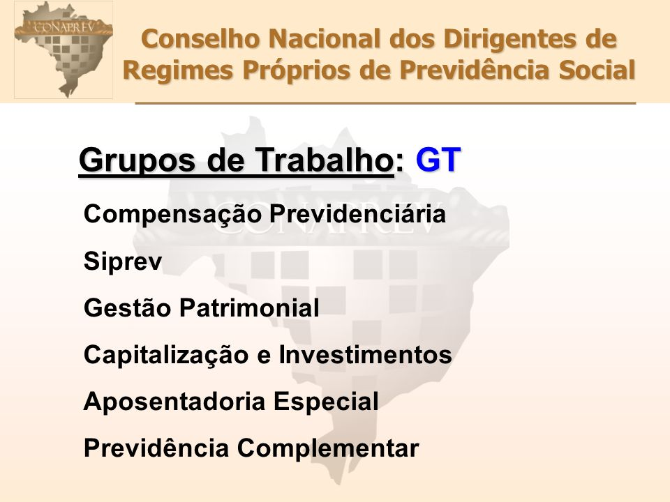 Conselho Nacional dos Dirigentes de Regimes Próprios de Previdência Social Grupos de Trabalho: GT Compensação Previdenciária Siprev Gestão Patrimonial
