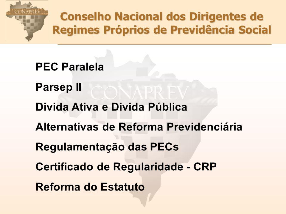 Conselho Nacional dos Dirigentes de Regimes Próprios de Previdência Social PEC Paralela Parsep II Divida Ativa e Divida Pública Alternativas de Reform