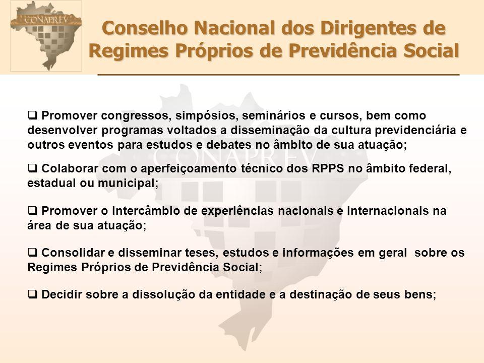 Conselho Nacional dos Dirigentes de Regimes Próprios de Previdência Social Promover congressos, simpósios, seminários e cursos, bem como desenvolver p
