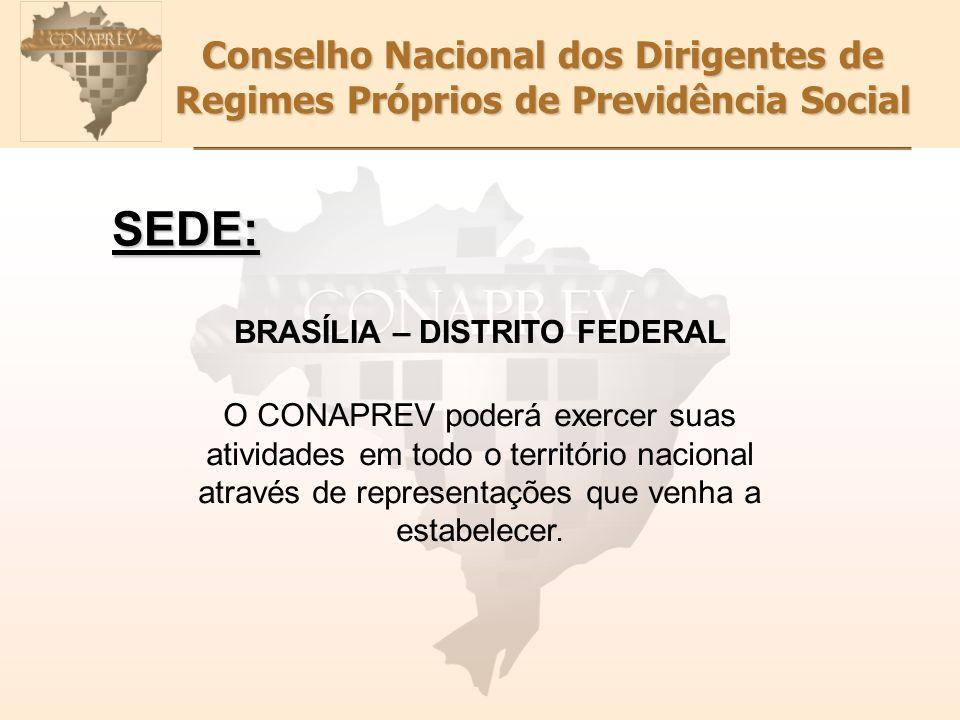 Conselho Nacional dos Dirigentes de Regimes Próprios de Previdência Social SEDE: BRASÍLIA – DISTRITO FEDERAL O CONAPREV poderá exercer suas atividades em todo o território nacional através de representações que venha a estabelecer.