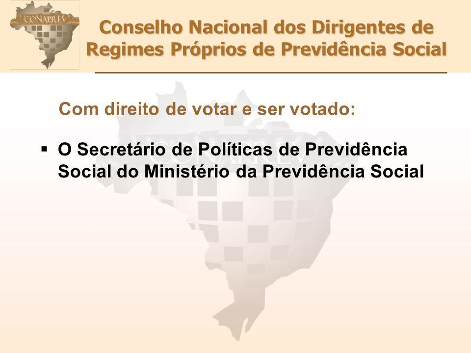 Conselho Nacional dos Dirigentes de Regimes Próprios de Previdência Social Com direito de votar e ser votado: O Secretário de Políticas de Previdência