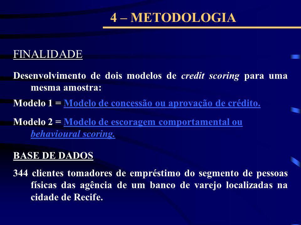 4 – METODOLOGIA FINALIDADE Desenvolvimento de dois modelos de credit scoring para uma mesma amostra: Modelo 1 = Modelo de concessão ou aprovação de cr