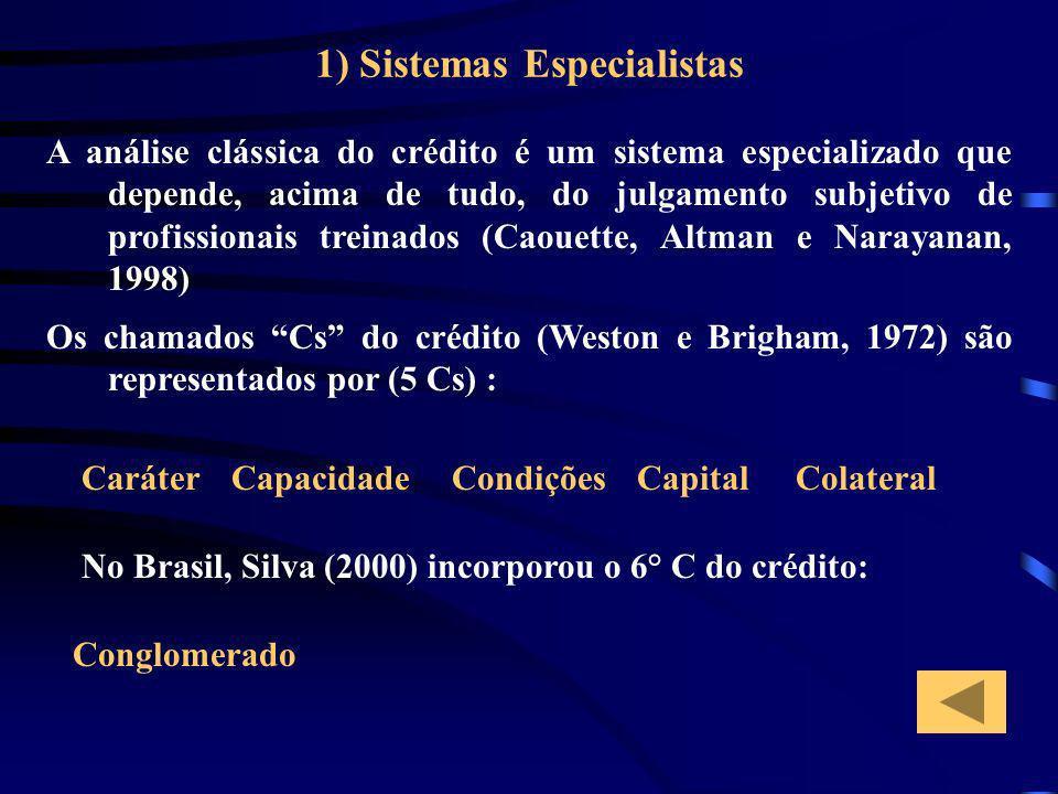 1) Sistemas Especialistas A análise clássica do crédito é um sistema especializado que depende, acima de tudo, do julgamento subjetivo de profissionai