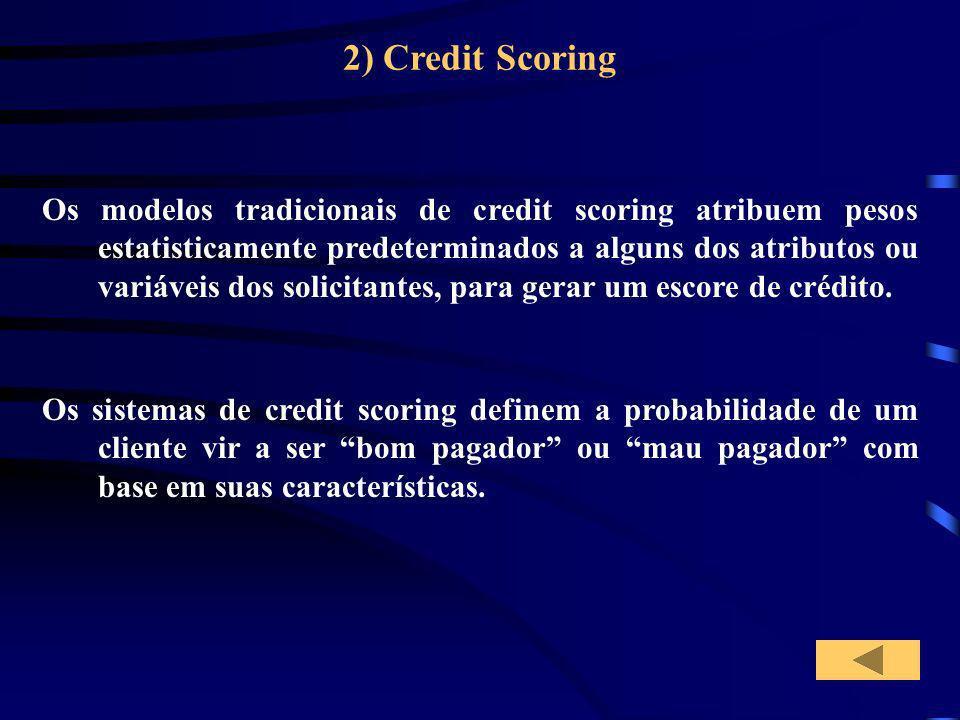 2) Credit Scoring Os sistemas de credit scoring definem a probabilidade de um cliente vir a ser bom pagador ou mau pagador com base em suas caracterís