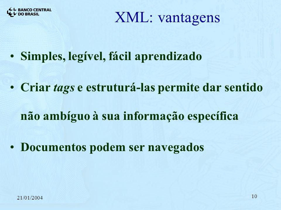 21/01/2004 10 XML: vantagens Simples, legível, fácil aprendizado Criar tags e estruturá-las permite dar sentido não ambíguo à sua informação específica Documentos podem ser navegados