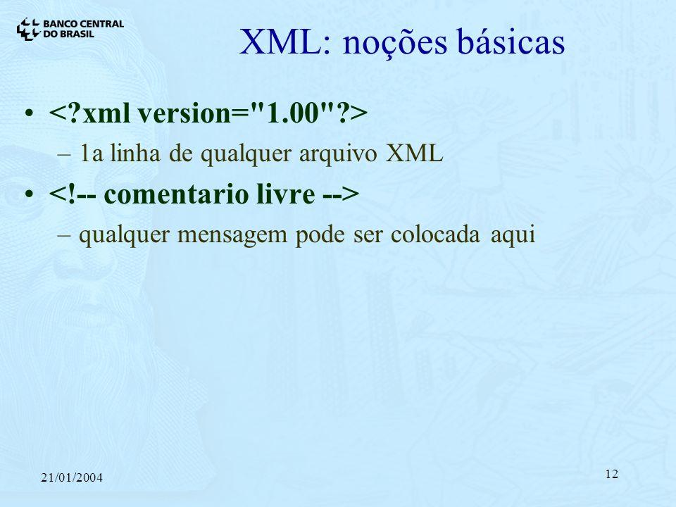 21/01/2004 12 XML: noções básicas –1a linha de qualquer arquivo XML –qualquer mensagem pode ser colocada aqui