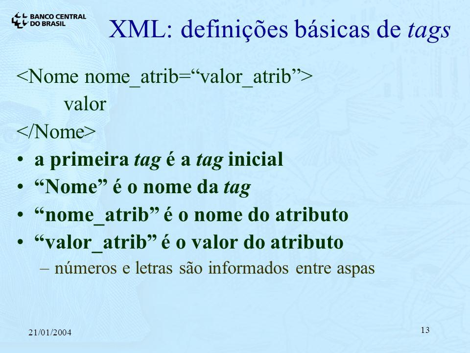 21/01/2004 13 XML: definições básicas de tags valor a primeira tag é a tag inicial Nome é o nome da tag nome_atrib é o nome do atributo valor_atrib é o valor do atributo –números e letras são informados entre aspas