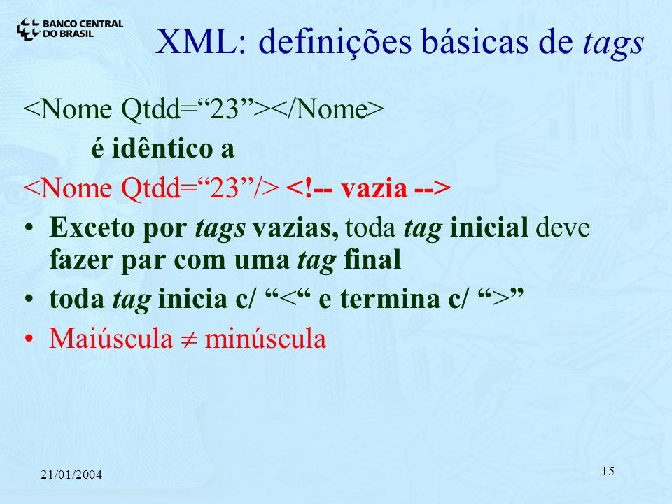 21/01/2004 15 XML: definições básicas de tags é idêntico a Exceto por tags vazias, toda tag inicial deve fazer par com uma tag final toda tag inicia c/ Maiúscula minúscula