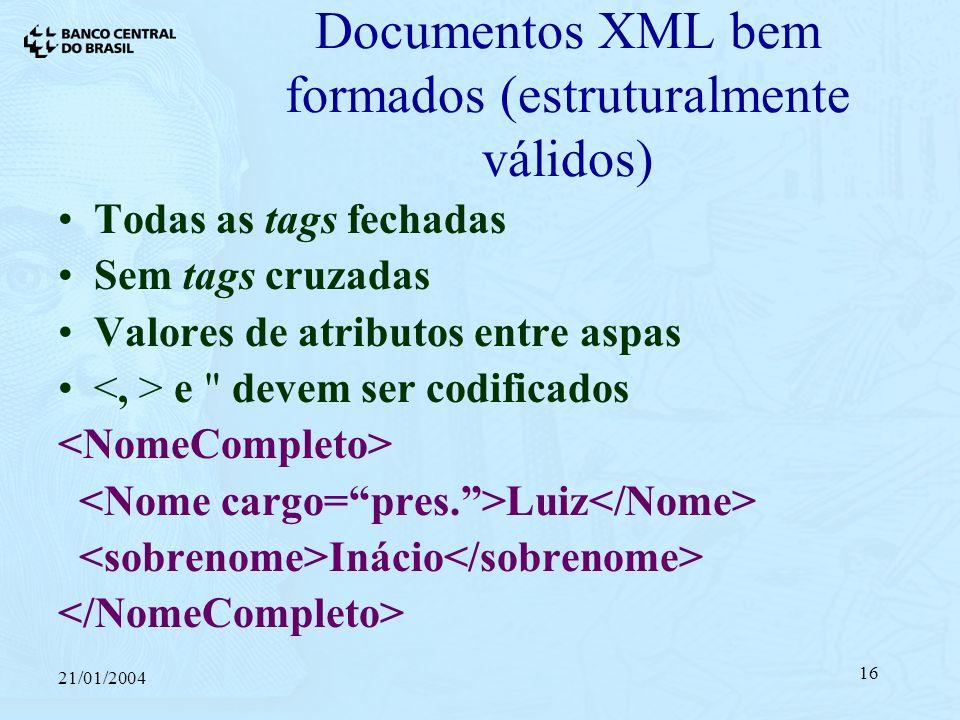 21/01/2004 16 Documentos XML bem formados (estruturalmente válidos) Todas as tags fechadas Sem tags cruzadas Valores de atributos entre aspas e devem ser codificados Luiz Inácio
