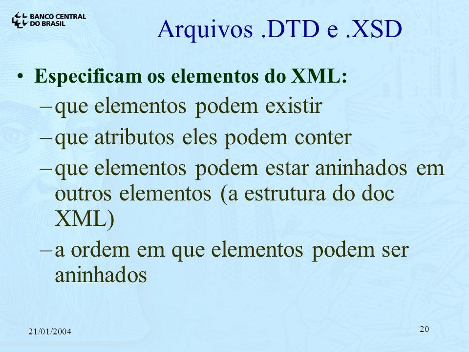21/01/2004 20 Arquivos.DTD e.XSD Especificam os elementos do XML: –que elementos podem existir –que atributos eles podem conter –que elementos podem estar aninhados em outros elementos (a estrutura do doc XML) –a ordem em que elementos podem ser aninhados