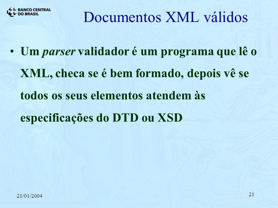 21/01/2004 21 Documentos XML válidos Um parser validador é um programa que lê o XML, checa se é bem formado, depois vê se todos os seus elementos atendem às especificações do DTD ou XSD