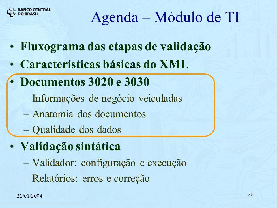 21/01/2004 26 Agenda – Módulo de TI Fluxograma das etapas de validação Características básicas do XML Documentos 3020 e 3030 –Informações de negócio veiculadas –Anatomia dos documentos –Qualidade dos dados Validação sintática –Validador: configuração e execução –Relatórios: erros e correção