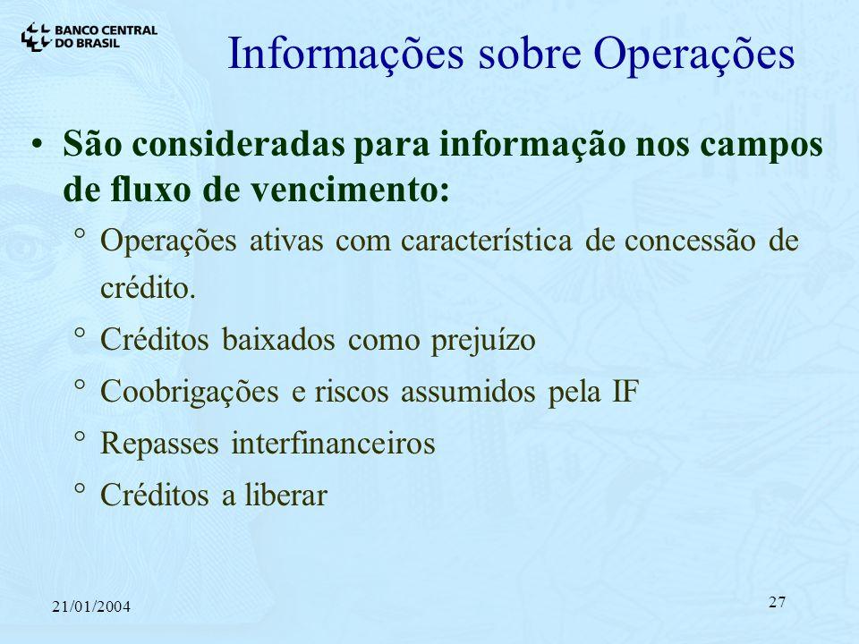 21/01/2004 27 Informações sobre Operações São consideradas para informação nos campos de fluxo de vencimento: Operações ativas com característica de concessão de crédito.
