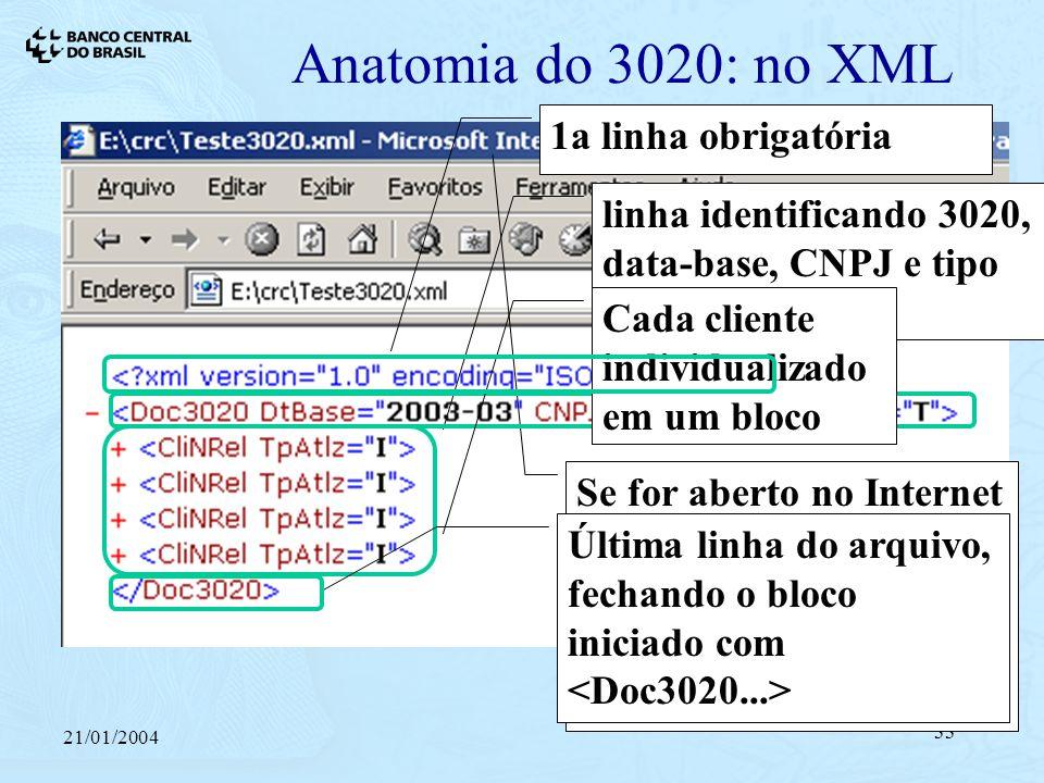21/01/2004 33 Anatomia do 3020: no XML Se for aberto no Internet Explorer (extensão.XML), linhas são automaticamente endentadas linha identificando 3020, data-base, CNPJ e tipo de arquivo Cada cliente individualizado em um bloco 1a linha obrigatóriaÚltima linha do arquivo, fechando o bloco iniciado com