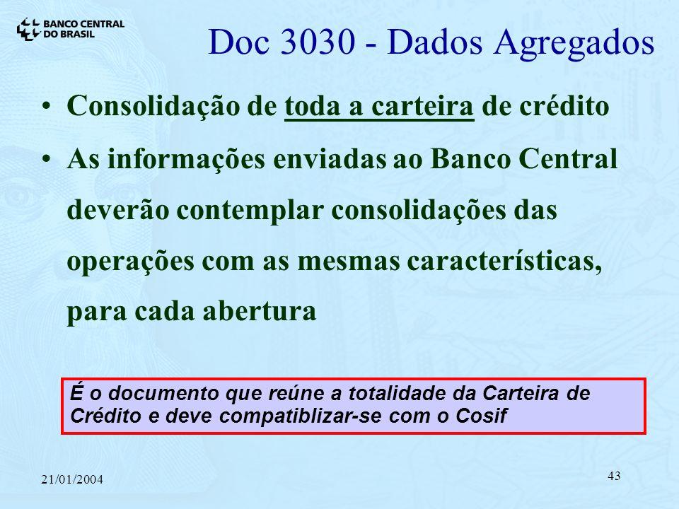 21/01/2004 43 Consolidação de toda a carteira de crédito As informações enviadas ao Banco Central deverão contemplar consolidações das operações com as mesmas características, para cada abertura Doc 3030 - Dados Agregados É o documento que reúne a totalidade da Carteira de Crédito e deve compatiblizar-se com o Cosif