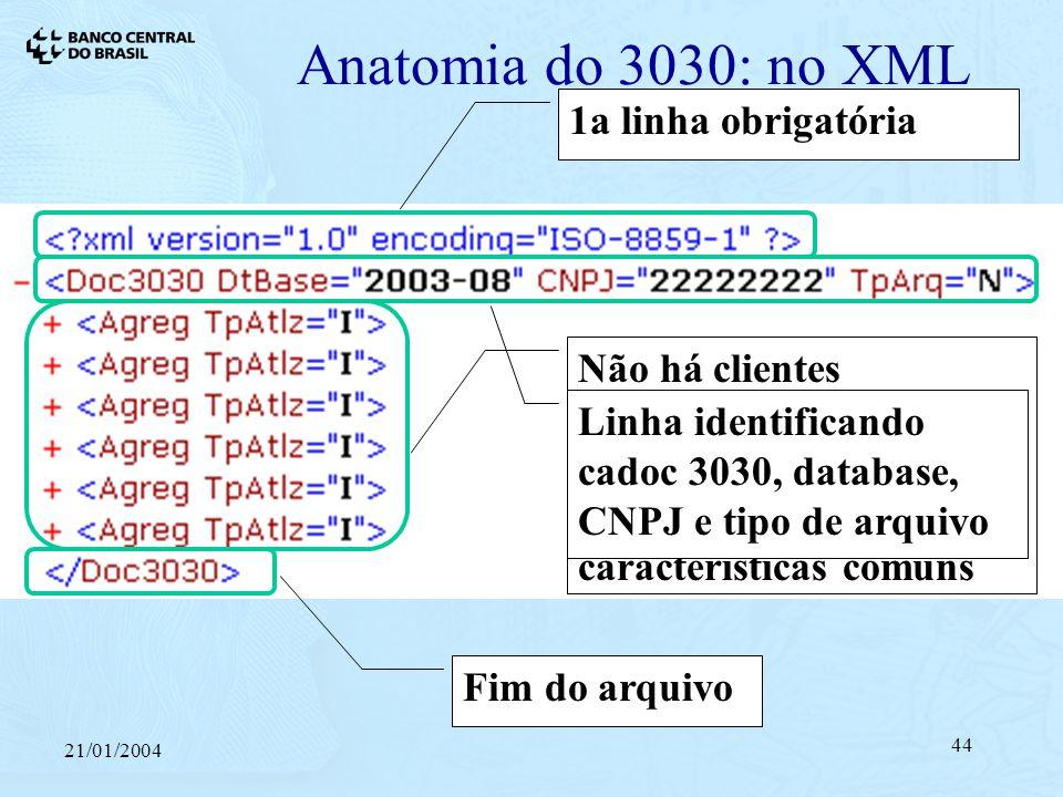 21/01/2004 44 Anatomia do 3030: no XML Não há clientes individualizados, apenas blocos agregando operações com características comuns 1a linha obrigatória Linha identificando cadoc 3030, database, CNPJ e tipo de arquivo Fim do arquivo