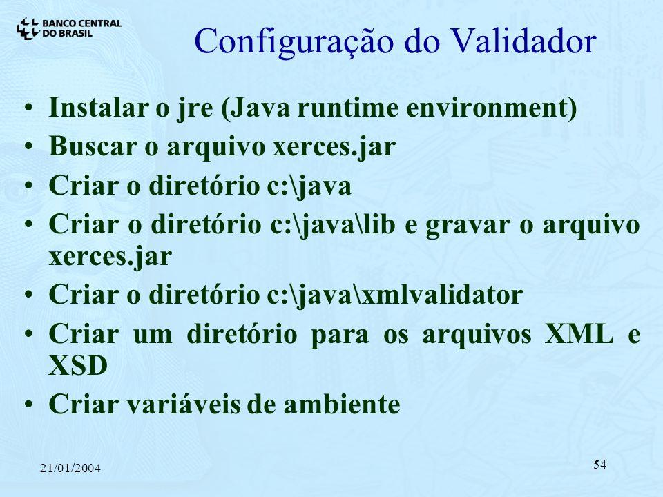 21/01/2004 54 Configuração do Validador Instalar o jre (Java runtime environment) Buscar o arquivo xerces.jar Criar o diretório c:\java Criar o diretório c:\java\lib e gravar o arquivo xerces.jar Criar o diretório c:\java\xmlvalidator Criar um diretório para os arquivos XML e XSD Criar variáveis de ambiente