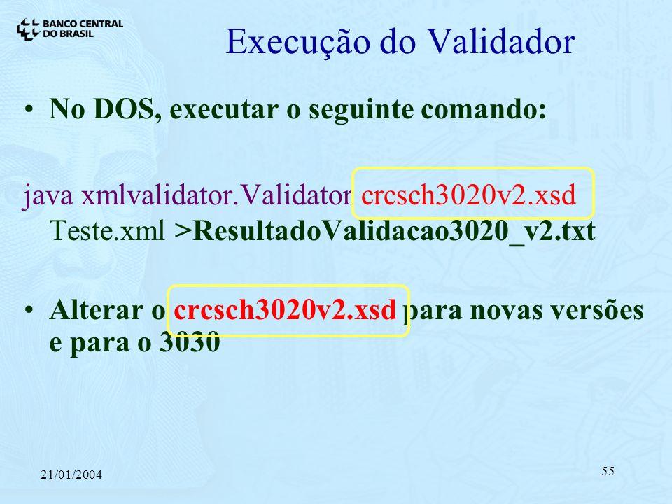 21/01/2004 55 Execução do Validador No DOS, executar o seguinte comando: java xmlvalidator.Validator crcsch3020v2.xsd Teste.xml >ResultadoValidacao3020_v2.txt Alterar o crcsch3020v2.xsd para novas versões e para o 3030