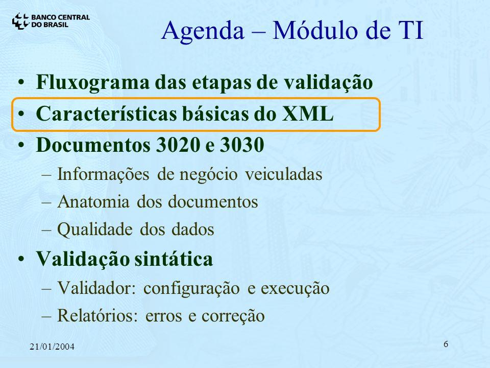 21/01/2004 6 Agenda – Módulo de TI Fluxograma das etapas de validação Características básicas do XML Documentos 3020 e 3030 –Informações de negócio veiculadas –Anatomia dos documentos –Qualidade dos dados Validação sintática –Validador: configuração e execução –Relatórios: erros e correção