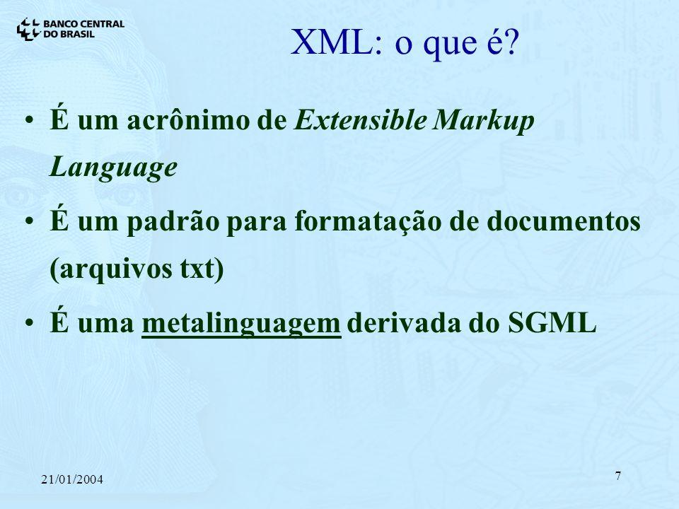 21/01/2004 7 XML: o que é.
