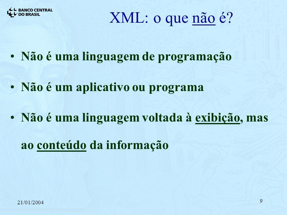 21/01/2004 9 XML: o que não é.
