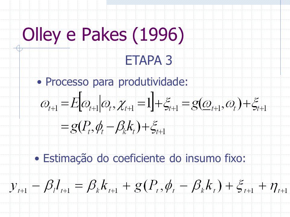 Olley e Pakes (1996) ETAPA 3 Processo para produtividade: Estimação do coeficiente do insumo fixo: